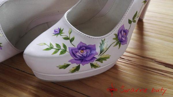 Malowane góralskie szpilki w kolorze pudrowego rózu