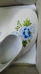 Malowanie na bucie - zielono niebieskie