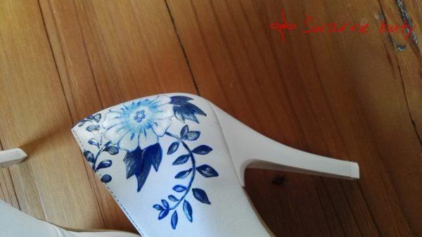 Ślubne buty na obcasie ręcznie zdobione