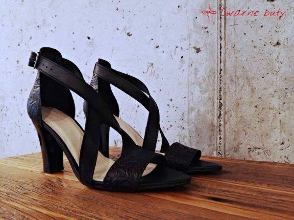 Buty z tłoczonej skóry na słupku, sandały na imprezę, wesele, tańce